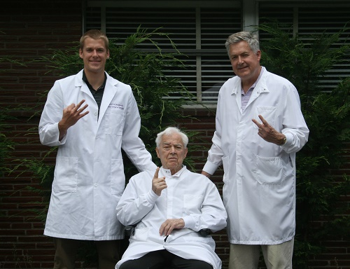 The three generations of family doctors,  Dr. William, Dr. John, and Dr. Scott Dougherty.