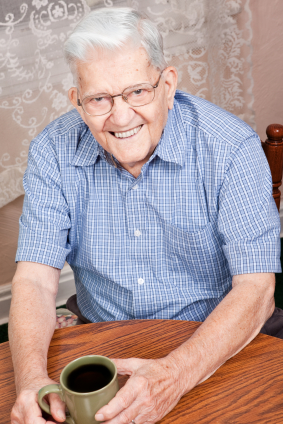 Elderly man wearing dentures